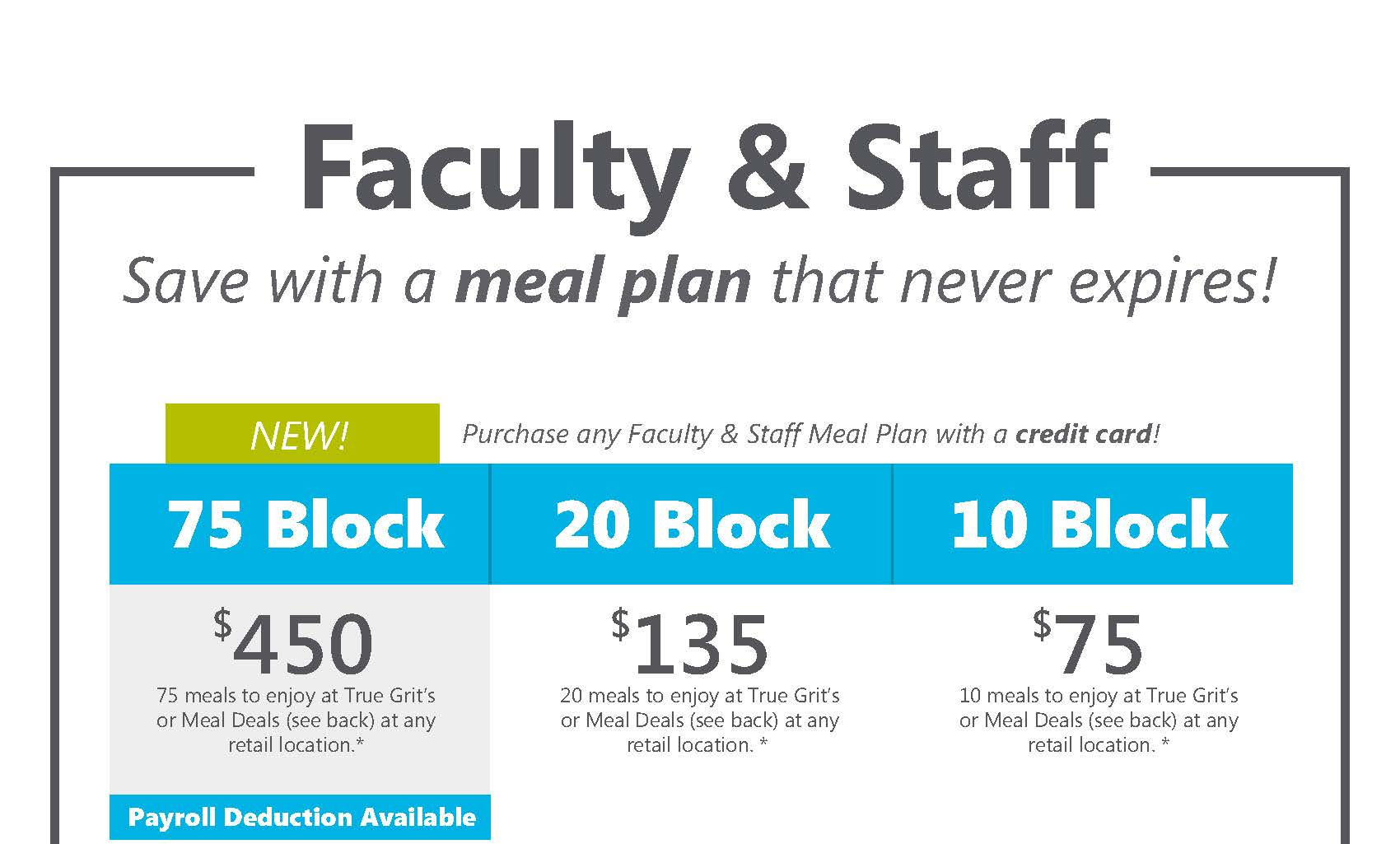 Faculty and Staff Meal Plans